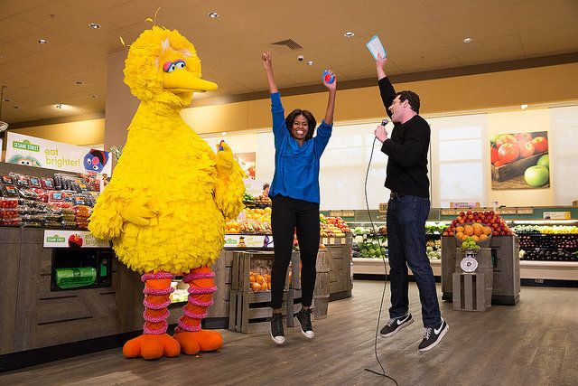 "First Lady Michelle Obama participates in a ""Let's Move!"" Funny or Die game show taping with Billy Eichner of Billy on the Street, and Big Bird at Safeway in Washington, D.C., Jan. 12, 2015. (Official White House Photo by Amanda Lucidon)"