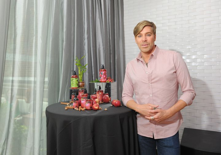 Celebrity hair stylist and founder of WEN Hair and Body Care Chaz Dean is seen promoting some of his products.
