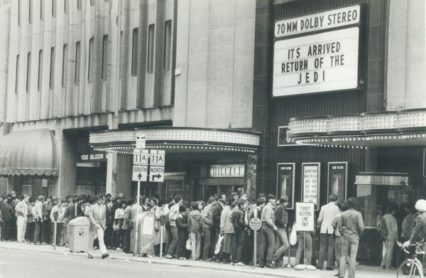 """Hundreds of """"Star Wars"""" fanatics were lined up along Bloor St. and down University Ave. in Toronto to buy tickets for the wor"""