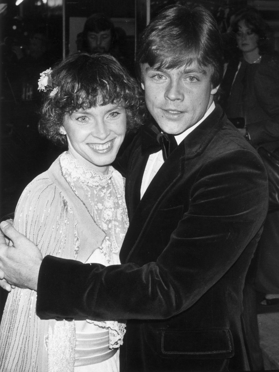 "Actor Mark Hamill attends the royal premiere of ""The Empire Strikes Back"" with his wife, Mary Lou, on May 21, 1983."