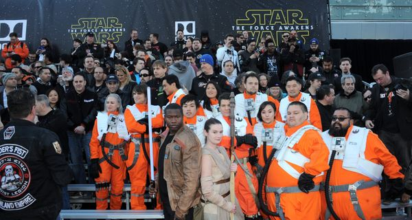 """Fans attend the premiere of """"Star Wars: The Force Awakens"""" on Dec. 14, 2015, in Hollywood."""