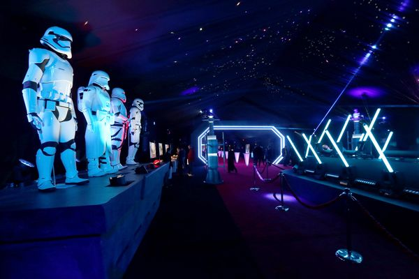 """A view of the Stormtrooper exhibit during the after-party for the premiere of """"Star Wars: The Force Awakens"""" on Dec. 14, 2015"""