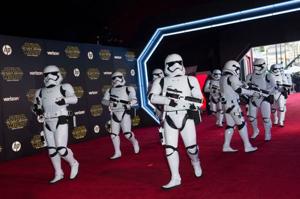 """Stormtroopers attend the premiere of """"Star Wars: The Force Awakens"""" in Hollywood on Dec.14, 2015."""