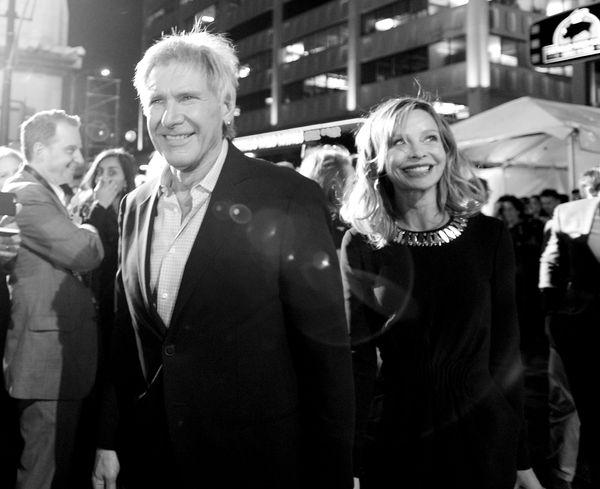 """Actors Harrison Ford and Calista Flockhart attend the world premiere of """"Star Wars: The Force Awakens"""""""" on Dec. 14, 2015, in"""