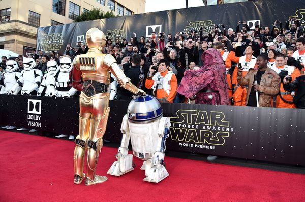 """R2-D2 and C-3PO attend the world premiere of """"Star Wars: The Force Awakens"""" on Dec. 14, 2015, in Hollywood, California."""