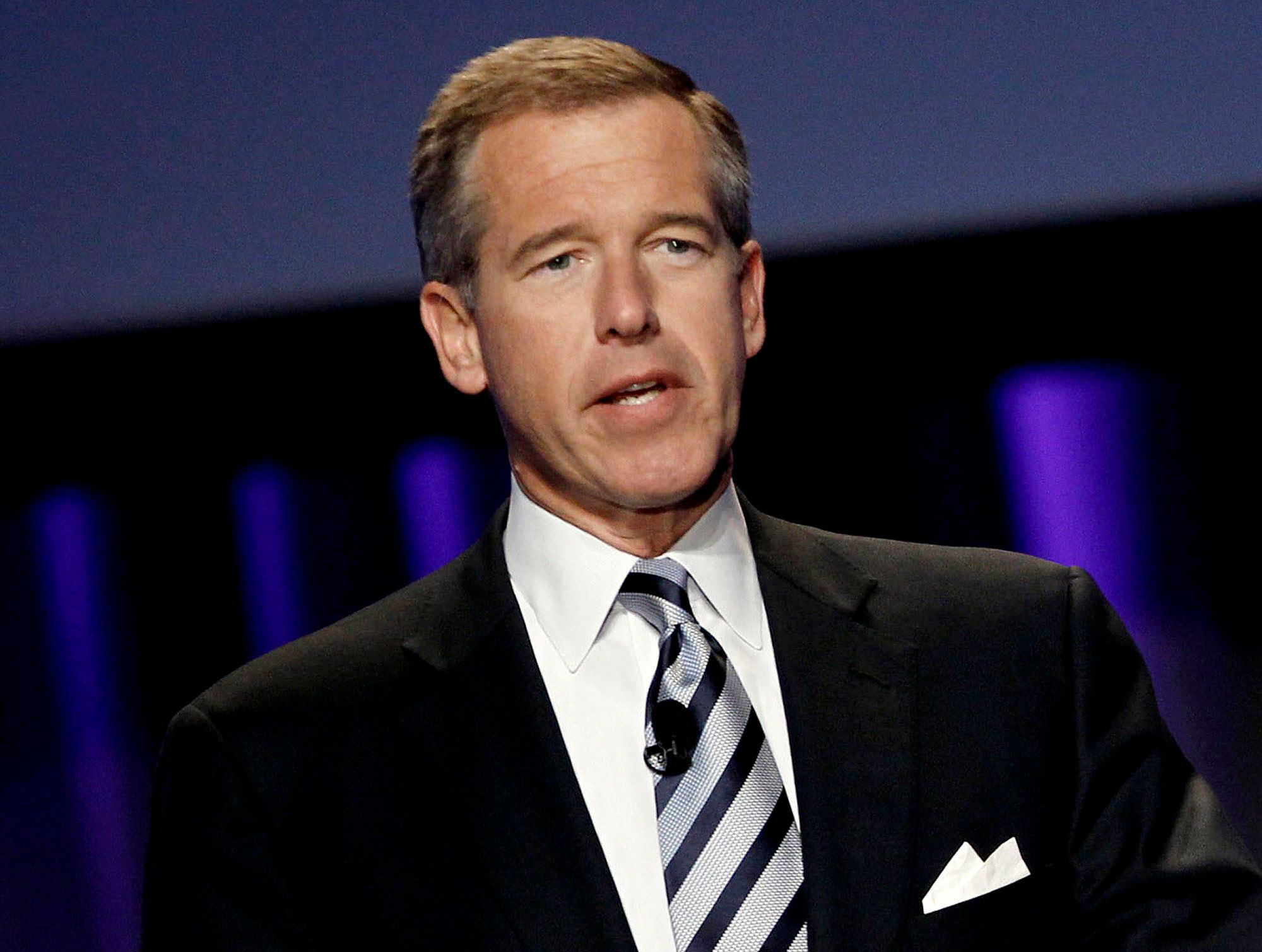 "FILE - In this Oct. 26, 2010 file photo, Brian Williams, then anchor and managing editor of ""NBC Nightly News,"" speaks at the Women's Conference in Long Beach, Calif. Williams has settled in his new job at MSNBC. He lost his job in February as NBC's ""Nightly News"" anchor for misleading viewers about his role in news stories. (AP Photo/Matt Sayles, File)"