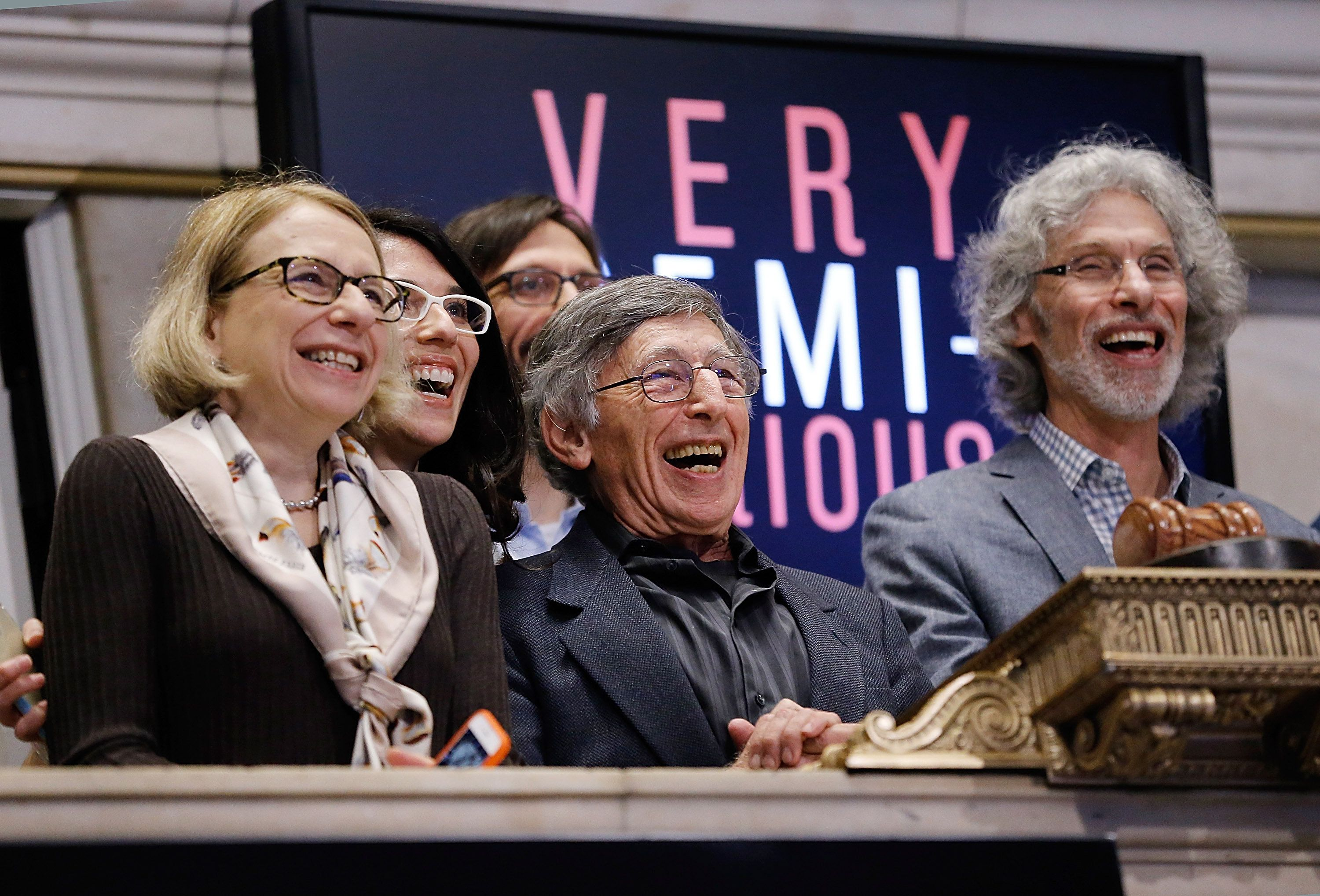 NEW YORK, NY - DECEMBER 14:  Roz Chast,  Director Leah Wolchok, Mort Gerberg and New Yorker Cartoon Editor Bob Mankoff of 'Semi-Serious'cast ring The NYSE Opening Bell at New York Stock Exchange on December 14, 2015 in New York City.  (Photo by John Lamparski/Getty Images)