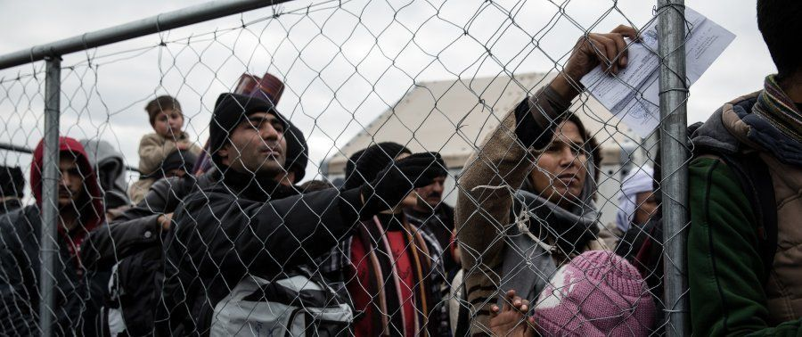 Thousands of migrants and refugees wait in a makeshift camp, hoping to cross the Greek border intoMacedonia.