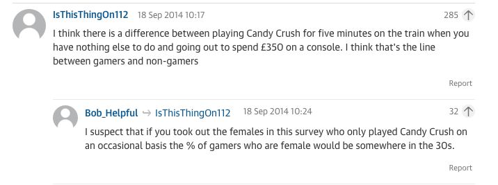 Public comments on a Guardian article about women and gaming.