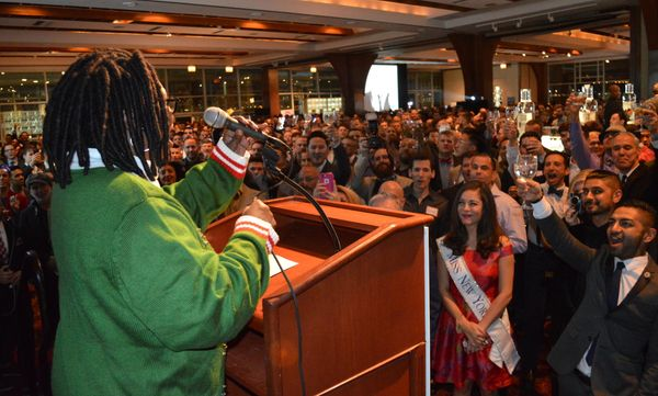 Whoopi Goldberg speaks to a packed crowd