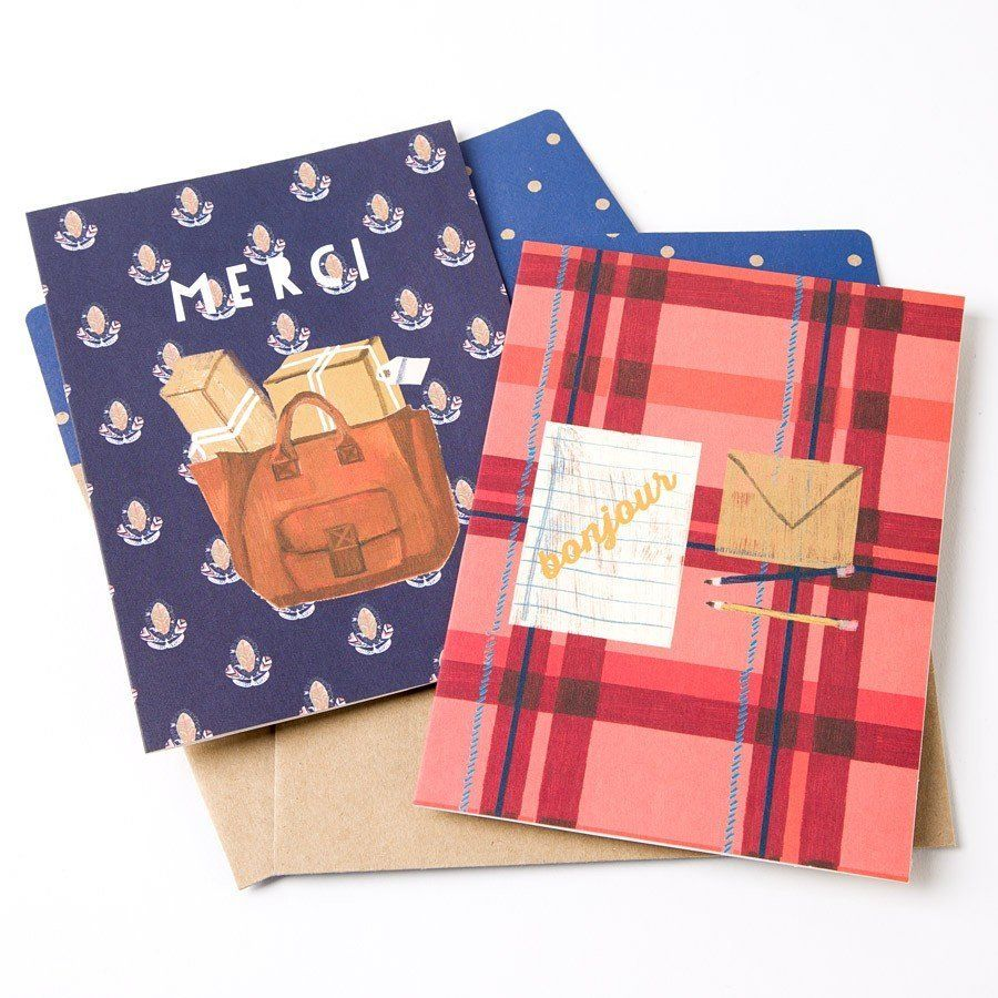 "Set Of 16 Assorted Cards, $14.95 at <a href=""http://www.papyrusonline.com/stationery/boxed-note-cards-1/joie-du-jour-assorted"