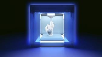rendered illustration of electronic three dimensional plastic printer on dark blue background, printing model of hand.