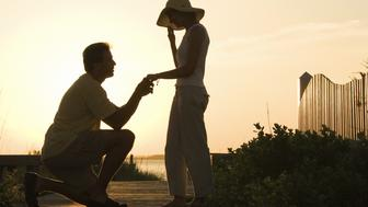Silhouette of man proposing to woman on beach boardwalk