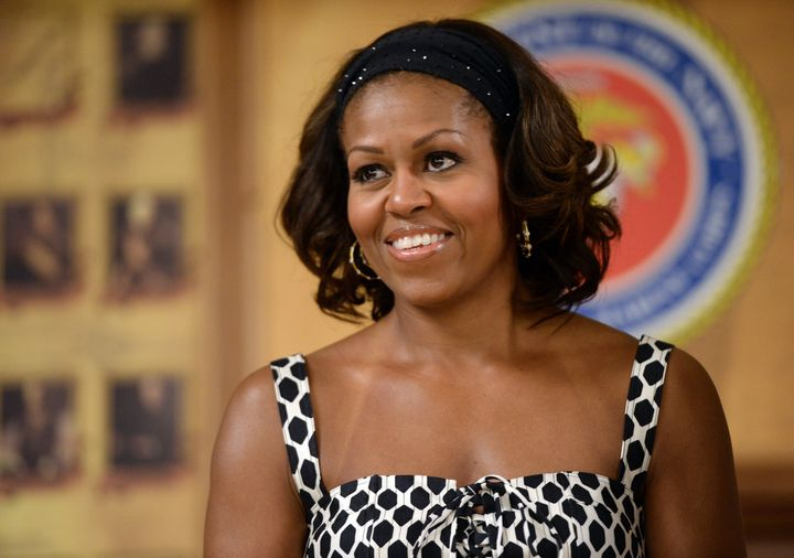 Michelle Obamaduring a Christmas dinner at Marine Corps Base Hawaii on December 25, 2013.