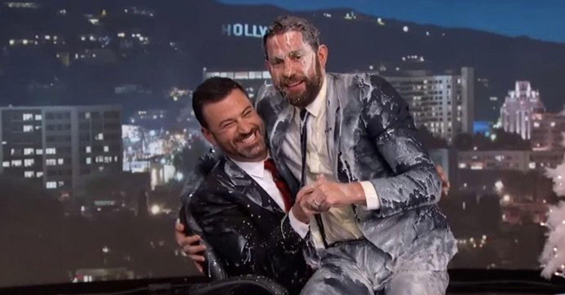 John Krasinski Gets Covered In Eggnog For Jimmy Kimmel\'s Christmas ...