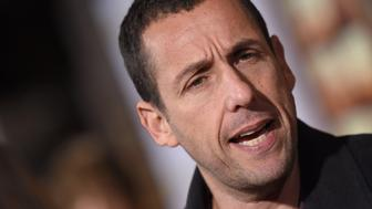 UNIVERSAL CITY, CA - NOVEMBER 30:  Actor Adam Sandler arrives at the premiere of Netflix's 'The Ridiculous 6' at AMC Universal City Walk on November 30, 2015 in Universal City, California.  (Photo by Axelle/Bauer-Griffin/FilmMagic)