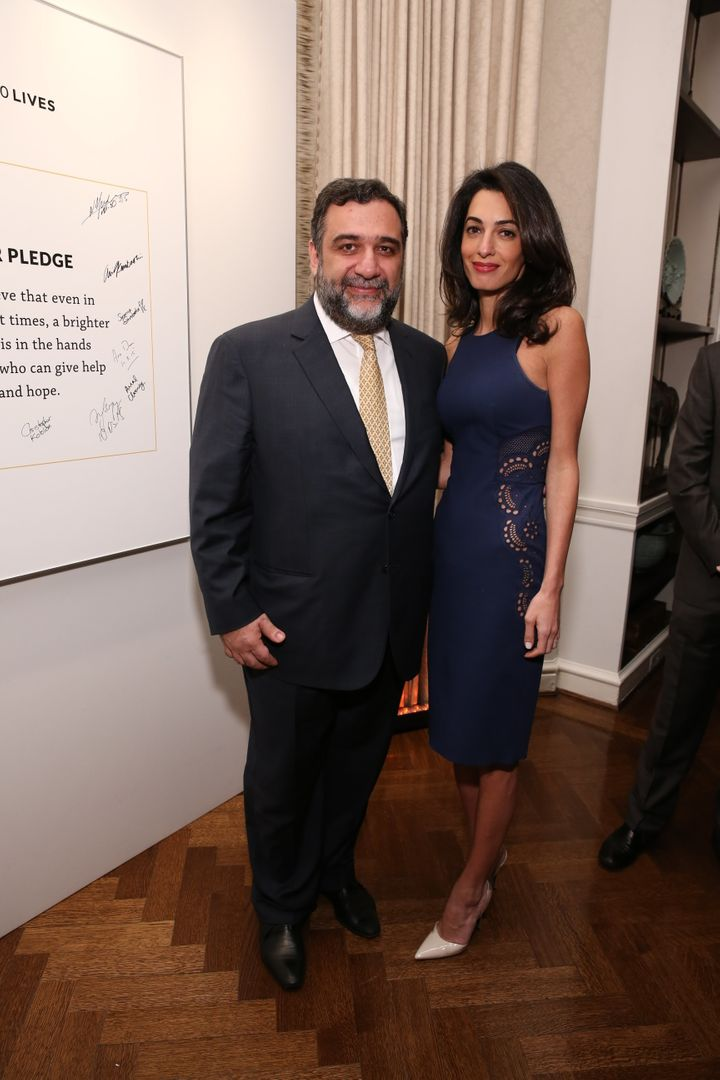 Amal Clooney poses with Ruben Vardanyan, co-founder of 100 Lives and UWC Dilijan.