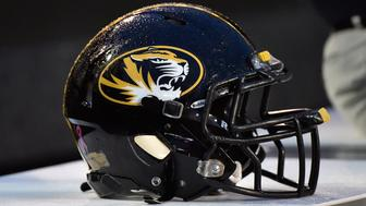 NASHVILLE, TN - OCTOBER 24:  A helmet of the Missouri Tigers rests on the sideline during a game against of the Vanderbilt Commodores at Vanderbilt Stadium on October 24, 2015 in Nashville, Tennessee.  (Photo by Frederick Breedon/Getty Images)
