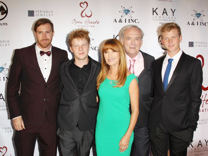 Jane Seymour attends the 2014 Open Hearts Foundation 4th Annual Gala with ex-husband James Keach and her sons.
