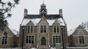 Colorado College - Cutler Hall in Colorado Springs. The school suspended junior Thaddeus Pryor over a comment he made on an anonymous posting app.