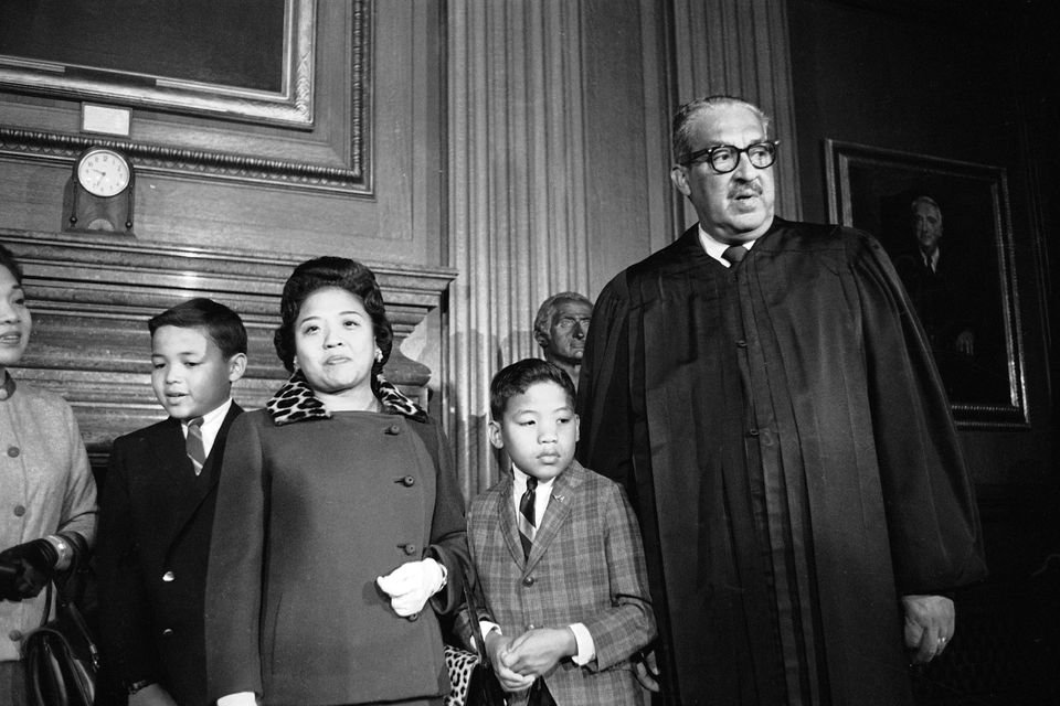 Supreme Court Justice Thurgood Marshall's family is at hand to watch him take his seat at the court for the first time, Oct.