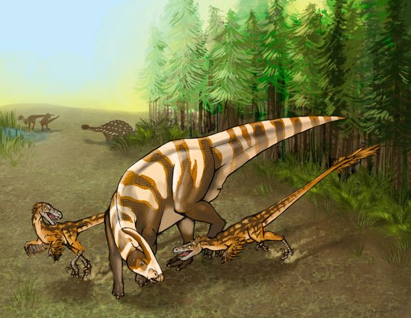 See those smaller dinos harassing a larger -- but helpless -- hadrosaur? That's S. sullivani, a newly identified ra
