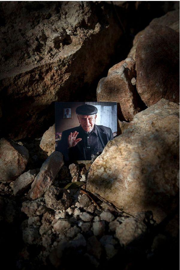 A photograph of Movses Haneshyan at the ruins of his church in Kebusie, Turkey. (Photo copyright: Diana Markosian)
