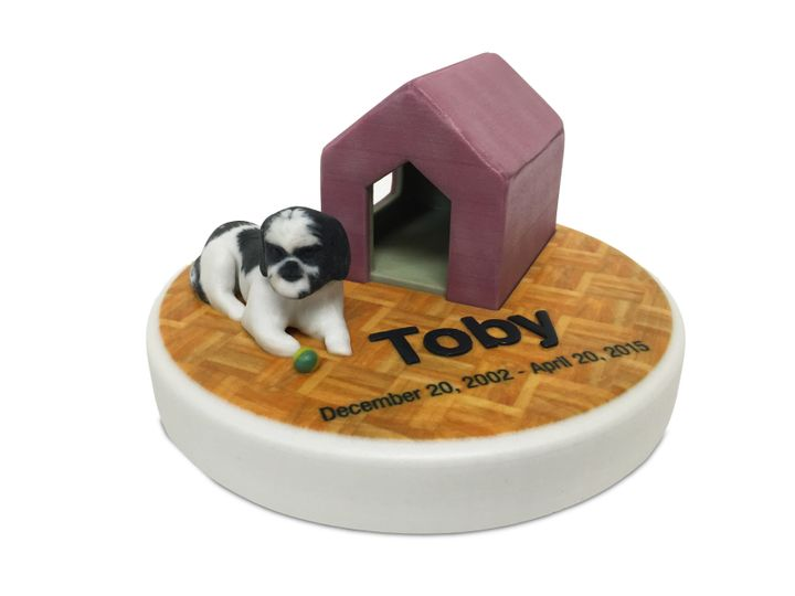 Foreverence also creates urns for pets, such as Toby, a dog who died in 2015.