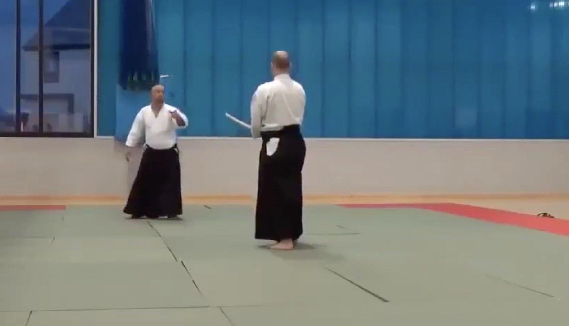 Aikido master shows off self-defense move.
