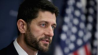 WASHINGTON, DC - DECEMBER 16:  Speaker of the House Paul Ryan talks to reporters following the weekly House GOP Conference meeting at the U.S. Capitol December 16, 2015 in Washington, DC. Ryan announced that House Republicans have reached a deal with leaders in the House and Senate on an omnibus federal budget bill that would fund the government until September of 2016.  (Photo by Chip Somodevilla/Getty Images)
