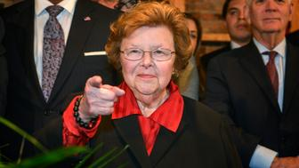 BALTIMORE, MD - OCTOBER 26: Sen. Barbara Mikulski, who is retiring at the end of this term, points to a supporter as the Maryland Democratic Party hosts a reception for her on October, 26, 2015 in Baltimore, MD. (Photo by Bill O'Leary/The Washington Post via Getty Images)
