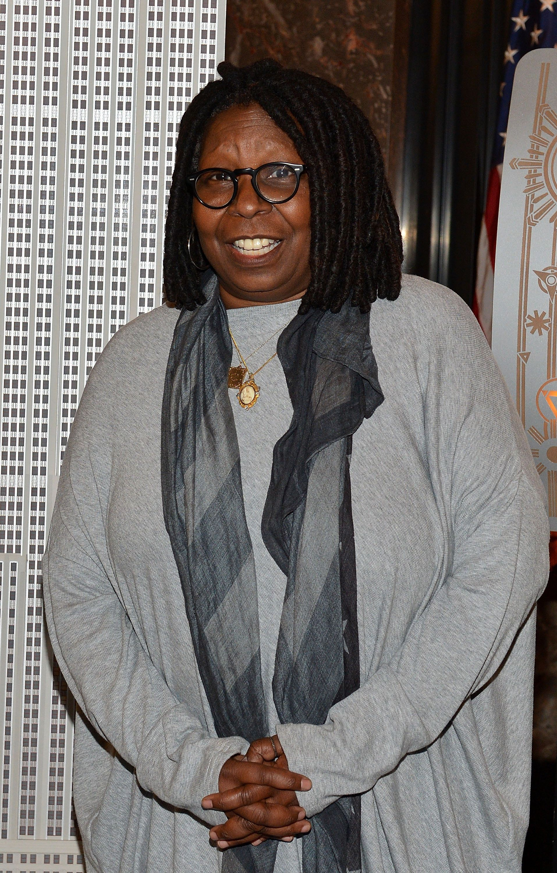 NEW YORK, NY - NOVEMBER 30:  Whoopi Goldberg attends a lighting ceremony at The Empire State Building in honor of World AIDS Day on November 30, 2015 in New York City.  (Photo by Slaven Vlasic/Getty Images)