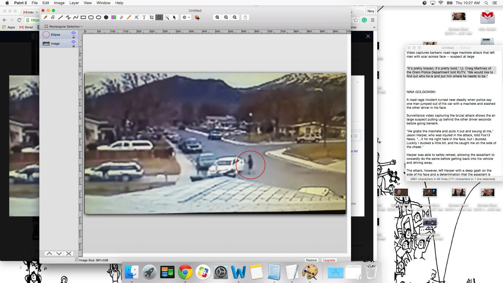 A road-rage suspect is seen circled in red, shortly after video appears to show him attacking a man with a machete.