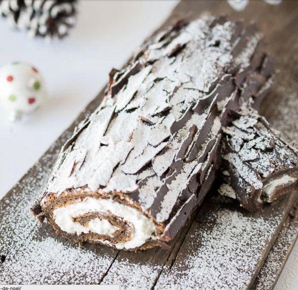 "<strong>Get the <a href=""http://culinaryginger.com/yule-log-buche-de-noel/"">Yule Log With Chocolate Bark Shavings recipe</a>&"