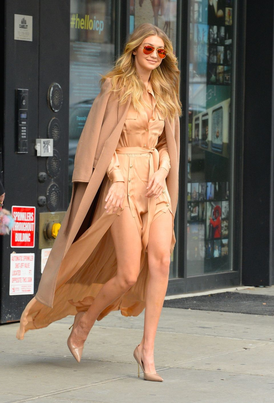 <strong>Gigi Hadid In Self-Portrait & Topshop Boutique:</strong> There are few things we love more than a camel-colored m