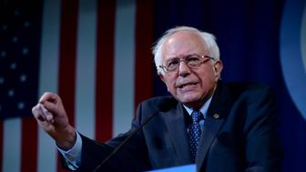MANCHESTER, NH - NOVEMBER 29: Democratic Presidential candidate Bernie Sanders speaks at the Jefferson Jackson Dinner at the Radisson Hotel November 29, 2015 in Manchester, New Hampshire. The dinner is held annually by the New Hampshire Democratic Party. (Photo by Darren McCollester/Getty Images)