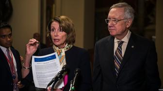 WASHINGTON, DC - OCTOBER 28:  House Minority Leader Nancy Pelosi (D-CA) and Senate Minority Leader Harry Reid (D-NV) speak to reporters on the bipartisan budget agreement at a press event at the Capitol on October 28, 2015 in Washington, D.C. The House voted 266-167 to approve a budget deal for the next two years.  (Photo by Gabriella Demczuk/Getty Images)