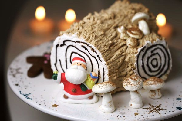 """<strong>Get the <a href=""""http://eugeniekitchen.com/yule-log-cake/"""">Coffee Yule Log recipe</a>from Eugenie Kitchen</stro"""