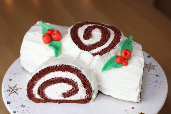 "<strong>Get the <a href=""http://eugeniekitchen.com/red-velvet-yule-log-cake/"">Red Velvet Yule Log recipe</a>from Eugeni"