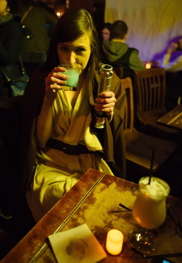 """There was also the """"Blue Milk,"""" a concoction of spiced rum, apple brandy, amaro, milk, cinnamon, nutmeg and bitters."""