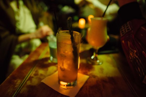 """Two of the spacey drinks were the """"Battle For Endor,"""" a cocktail of gin, lemon activated charcoal and club soda served with d"""