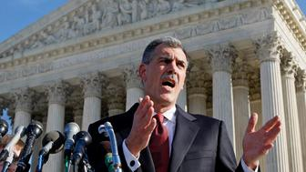 WASHINGTON - JANUARY 07: Attorney Donald B. Verrilli, Jr. speaks in front of the U.S. Supreme Court after arguments January 7, 2007 in Washington DC. The lethal injection protocol used to execute death-row inmates in the state of Kentucky is being challenged as cruel and unusual because it is potentially extremely painful if the first injection, sodium thiopental, wears off too quickly.  (Photo by Mark Wilson/Getty Images)