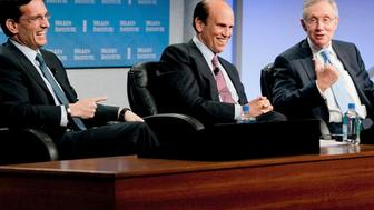 Harry Reid and Eric Cantor laugh with famous Wall Street fraudster Michael Milken at the 2013 Milken Institute conference