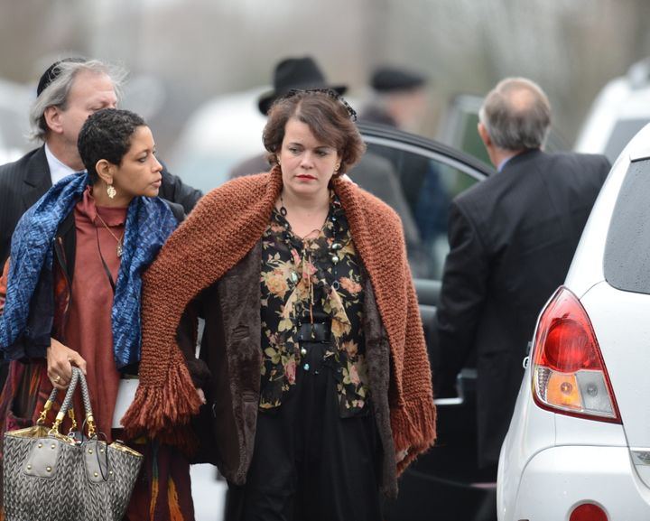 Veronika Pozner, mother of Noah Pozner, arrives for her son's funeral December 17, 2012 at the Abraham L. Green and Son Funer