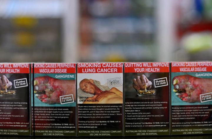 Packs of Philip Morris International Inc. Marlboro Menthol cigarettes inAustralian plain packaging.