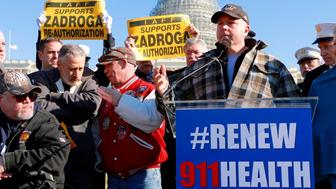 9/11 responders rallied with Jon Stewart outside the Capitol building in favor of a 9/11 bill that finally passed Congress two weeks later.