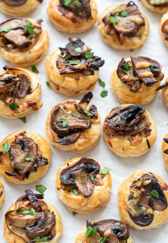 "<strong>Get the <a href=""http://www.wellplated.com/mushroom-puff-pastry/"">Cheesy Mushroom Puff Pastry Bites recipe</a> f"