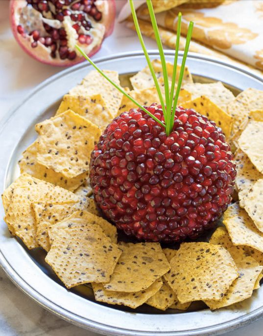 "<strong>Get the <a href=""http://www.aspicyperspective.com/pomegranate-crusted-cheese-ball-recipe/"">Pomegranate Crusted Cheese"
