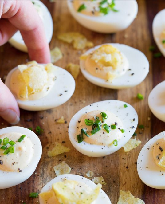 "<strong>Get the <a href=""http://www.aspicyperspective.com/sour-cream-and-onion-dip-deviled-egg-recipe/"">Sour Cream and Onion"