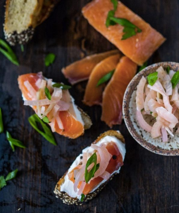 "<strong>Get the <a href=""http://www.feastingathome.com/salt-cured-salmon-with-juniper-and-vodka/"">Salt Cured Salmon With Juni"